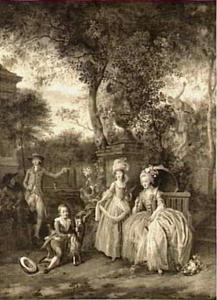 Koningin Marie-Antoinette en haar kinderen in het park van Versailles