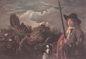 Portret van een jongen met jachthond naast een stilleven van dood gevogelte