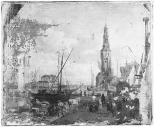 Gezicht op de Haringpakkerstoren in Amsterdam