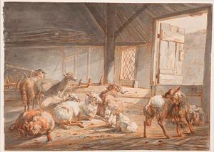 Schapen en geiten in een stal