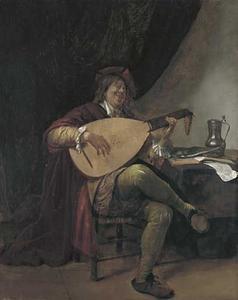 Zelfportret van Jan Steen (1626-1679) als luitspeler