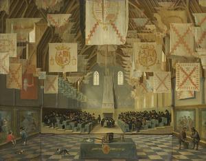 Interieur van de Grote Zaal op het Binnenhof in Den Haag tijdens de grote vergadering der Staten Generaal in 1651 (met verstelbare koperplaat waarmee de vergadering afgedekt kan worden)