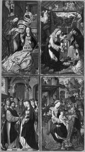 De annunciatie, de geboorte, het huwelijk van Maria, de aanbidding van de Wijzen