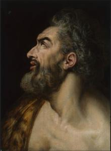 Studie van een hoofd van een man met baard