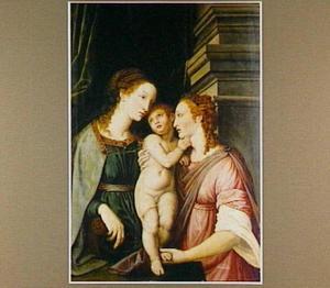 Maria met kind en vrouwelijke heilige
