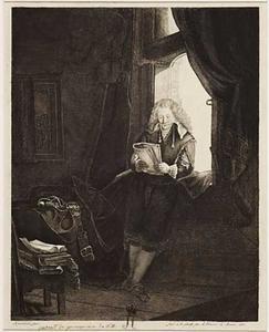Jan Six lezend in zijn studeerkamer