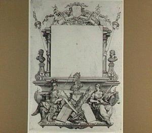 Allegorische voorstelling rond een cartouche