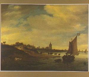 Rivierlandschap met zeilboot; in de verte Arnhem