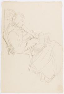 Amrey (Annemarie Balsiger) hoogzwanger en lezend