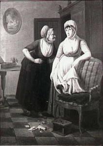 Een interieur met een dame,haar meid en een verscheurde liefdesbrief ligt op de grond