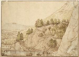 Rotsachtig berglandschap met figuren