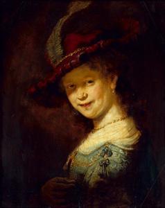 Borststuk van een lachende vrouw, mogelijk Saskia van Uylenburgh
