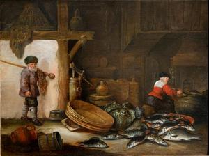 Interieur van een schuur met een stilleven van vissen en een visserspaar