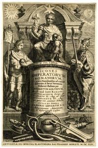 Titelpagina voor H. Goltzius, Icones Imperatorum Romanorum (Opera Omnia, V), Antwerpen 1645