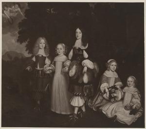 Groepsportret van Karl Emil van Brandenburg (1655-1674), Amalia van Nassau -Dietz (1655-1695), Willem III van Nassau (1650-1702), Hendrik Casimir II van Nassau -Dietz (1657-1696) en  Friedrich I van Pruisen (1657-1713)