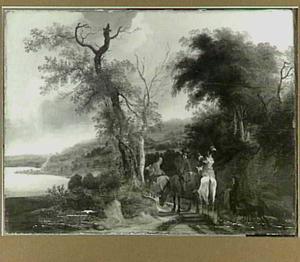 Bebost rivierlandschap met enkele jagers te paard