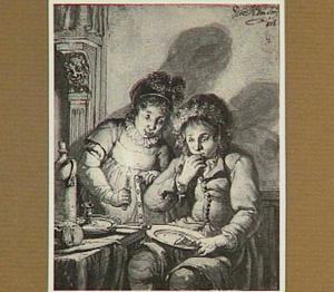Meisje en jongen, brood etend, bij kaarslicht in interieur
