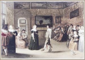 Elegant gezelschap met dansend paar in een interieur