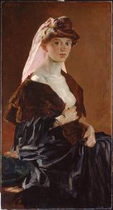 Portret van een vrouw met ontblote borst
