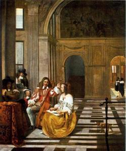 Musicerend gezelschap in een grote zaal