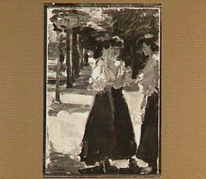 Drie vrouwen in een allée te Parijs