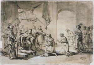 Darius knielend voor Alexander (?)