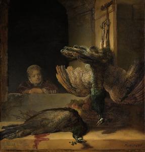 Stilleven met twee dode pauwen en een meisje