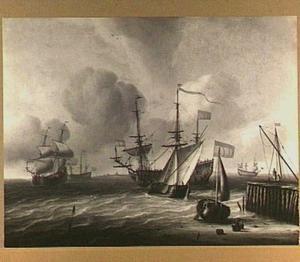 Hollandse schepen bij een haven