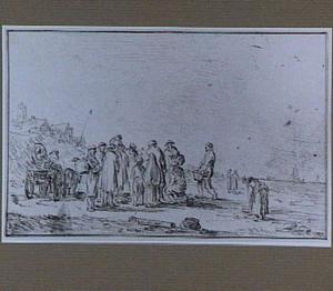 Strandgezicht met visverkopers en paard en wagen