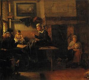 Kleermaker in zijn werkplaats met twee hulpjes en een vrouw die een kind de borst geeft