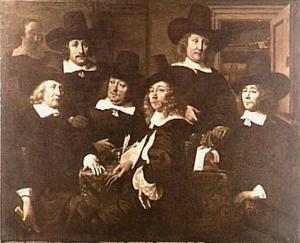 Zes regenten en een bediende van het Nieuwe Zijds Huiszittenhuis te Amsterdam 1657