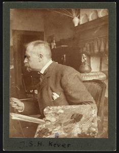 Portret van de schilder J.S.H. Kever (1854-1922) in zijn atelier