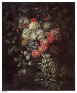 Festoen van vruchten en groente