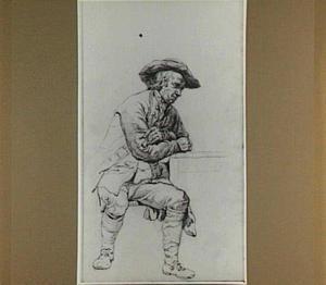 Zittende man met pijp en hoed, leunend op een tafel