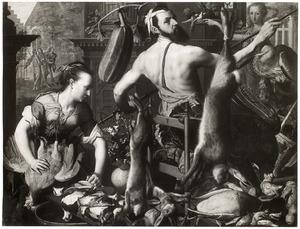 Zelfportret als kok. In de achtergrond Christus en de Emmaüsgangers