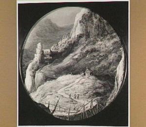Berglandschap met reizigers bij een berghut en een kasteel