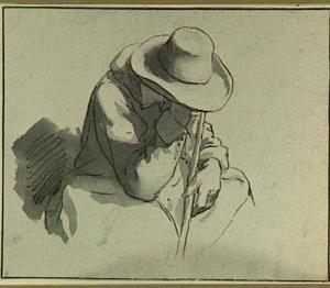 Studie van een zittende man met hoed en stok