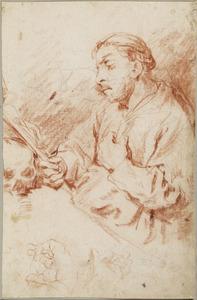 Een monnik een crucifix beschouwend
