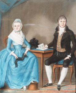 Dubbelportret van een man en en vrouw