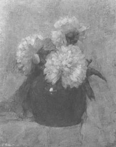 Three chrysanthemum blossoms in a round pot