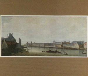 Gezicht op de Seine in Parijs vanaf de Pont-Neuf bij ondergaande zon