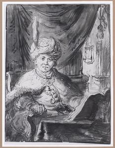 Oosterling achter een tafel met opengeslagen boek