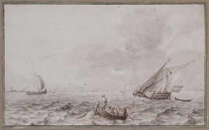 Zeilboten en roeiboot op woelige zee
