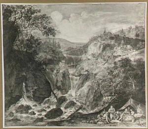 Fantasie berglandschap met etende figuren bij een tent