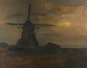 Oostzijdse mill in moonlight