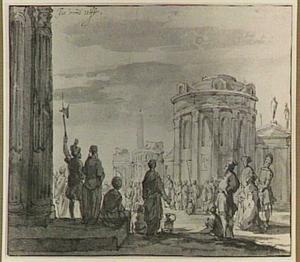 Figuren op een plein met klassieke gebouwen (ongeïdentificeerd onderwerp)