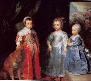 De drie oudste kinderen van Karel I en Henrietta Maria, Charles, Mary en James, staande met een hond
