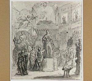 Onthulling van het standbeeld van een geharnaste held