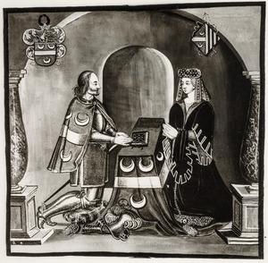Dubbelportret  van Johan van Woude (?-1417) en Agniese van Cruyningen (?-1400)