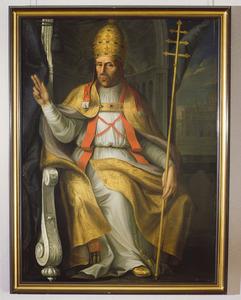 Paus Adrianus VI gezeten op zijn troon
